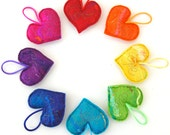 Corazones - Set of 8 Plush Handmade Felt Love Heart Decorations - A rainbow spectrum of decorations , stitched in gold with positive words.
