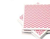 Tile Coasters - Pink and White Chevron - Set of 4 Ceramic Tile Coasters