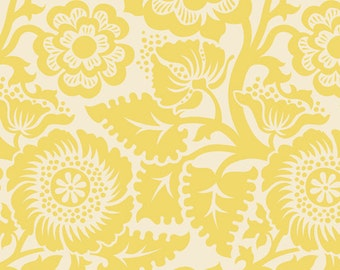 Heirloom by Joel Dewberry - Blockprint Blossom JD48 Dandelion yellow, Quilting cotton Fabric by the yard