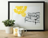 Hand printed french Sofa print in recycled paper