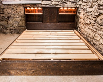 Rustic Reclaimed Platform Bed with Drawers and Lighting