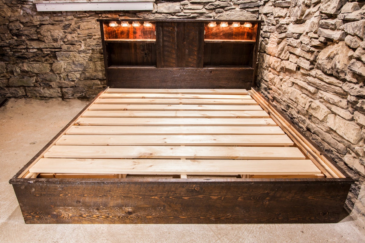 Rustic Reclaimed Platform Bed with Drawers and Lighting  Etsy