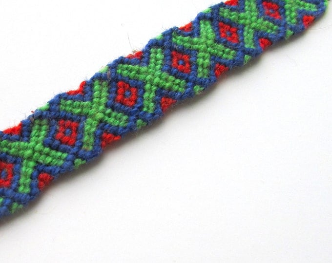 X Marks the Spot-handmade friendship bracelet (blue, red, green)