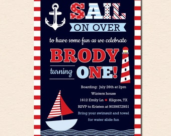 Sail Away Nautical Theme Birthday Party Invitation - No Photo (Navy/Red) (Digital File - Printed Cards Also Available)