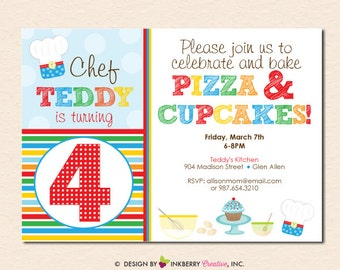 Pizza and Cupcakes (Primary Colors) - Little Chefs Baking Birthday Party Invitation (Digital File - Printed Cards Also Available)