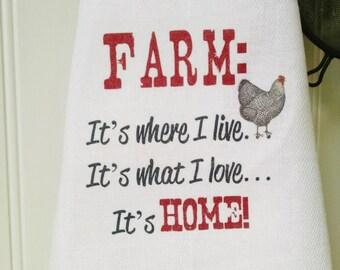 Farm Tea Towel, Farm Kitchen Linens, Rooster Towel, Home Towel
