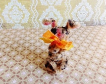 Mr Sunny the bunny -Vintage Style Handmade Chenille Dollhouse Figurine, Artisan Miniature Pipe Cleaner Animal Doll, Wire Ornament 42915