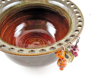 Large Earring holder, Jewelry Bowl, Jewelry holder, Olive green / Honey brown - Made to order