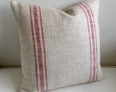 PARISIAN STRIPES french country pillow cover in red 18x18