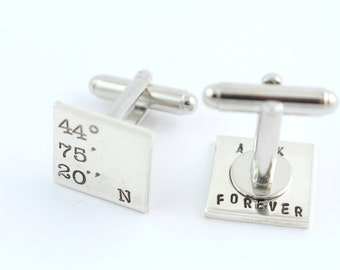Secret Message Cufflinks - Coordinates Cufflinks - Father's Day Gift For Dad - Mens Cuff Links - Sterling Silver - Shirt Fastener - Custom