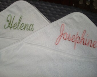 Siblings Twins Personalized Hooded Towel - White edging Pink striped  Blue striped or Red striped Edging  Name or up to 3 monograms