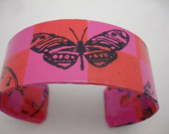 Butterfly Decoupage Bracelet Cuff Bracelet butterfly bracelet pink and red