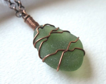 "Copper Wrapped Fern Green Sea Glass Necklace on 18"" Oxidized Copper Chain"