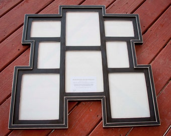 MULTI 8 Opening distressed rustic collage picture frame with 4) 8x10's  & 4) 5x7's ...Black....HANDMADE