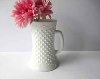 Vintage Fenton Milk Glass Hobnail Stein