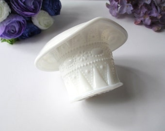 Vintage Kemple Lace & Dewdrop Milk Glass Hat Vase