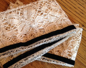 Two Lengths of Vintage, Antiques Lave with Black Velvet Ribbon