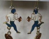 Football Player Earrings Pierced Wire Gold White Blue Enamel Dangle Vintage