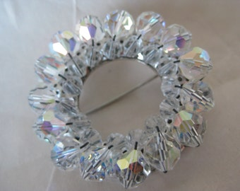 Clear Aurora Brooch Glass Bead Vintage Pin