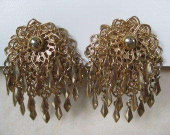 Chunky Filigree Dangle Gold Earrings Clip Vintage