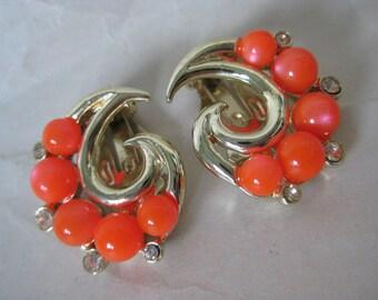 Orange Gold Earrings Clip Rhinestone Modern Plastic Vintage Clear