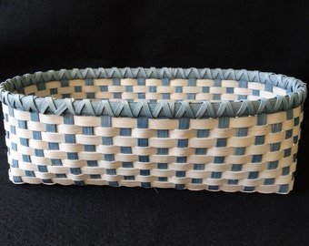 Hand Woven Basket in Light Gray and Smoky Blue with blue rim. Storage Basket. Large Storage Basket. Basket. Hand Made Baskets in fun colors!