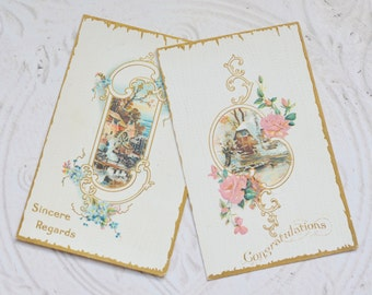 Antique Embossed Postcards Early 1900's Sincere Regards and Congratulations Paper Ephemera Scrapbooking Mixed Media Paper Craft Supplies