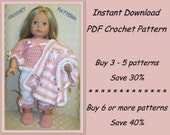 PDF crochet pattern 17 - pajamas, bedroom slippers and blanket or bed cover - for American Girl or other 18 inch doll