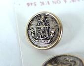 4 Vintage 5/8 Inch Brass Blazer Crest Shank Lansing Buttons
