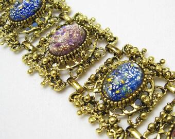 Wide Foil Opal Vintage Bracelet Art Glass Jewelry Showstopper  B4945