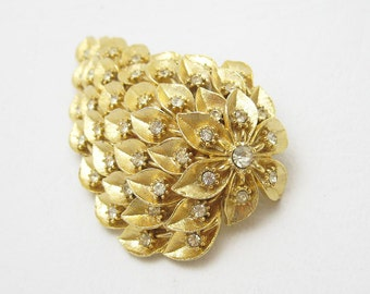 Large Rhinestone Brooch Waterfall Unique Vintage Jewelry  P3801