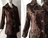 1970's animal fur print velvety jacket, brown and black, with buckle pattern antiqued goldtone buttons, large / size 12