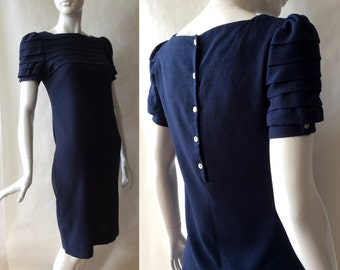 Early 1980's shift dress, button back with beautiful pleated sleeves and upper bodice, high squared neckline, navy blue, small (size 4-6)