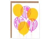 Pink and Yellow Birthday Balloons -- Screenprinted Birthday Card