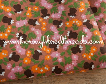 Fun Tulips and Daisies - Vintage Fabric Mod Juvenile Floral Novelty Brown Orange Pink