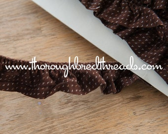 Dark Brown Ruffle  - 3 yards Vintage Fabric Trim New Old Stock