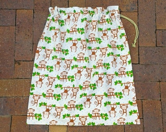 Large drawstring bag, monkeys, for library, toys, sheets, storage