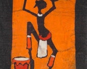 small South African batik art panel - dancer