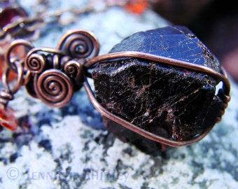 Garnet & Carnelian Pendant Necklace: Wire Wrapped Copper, Natural Healing Raw Almandine Garnet Gemstone Crystal and Gemmy Orange Carnelian
