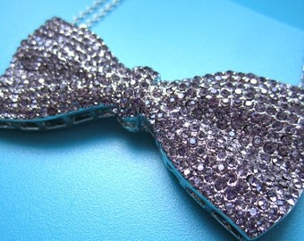 Crystal Bow Tie Necklace