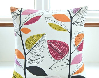 decorative pillow cover, leaves raspberry pink black violet amethyst orange, 16 inch cushion cover