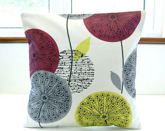 dandelion cushion cover burgundy  grey lime yellow flowers , decorative pillow cover 16 inch