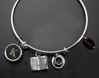 Book Coffee Bracelet Adjustable Stackable Bangle