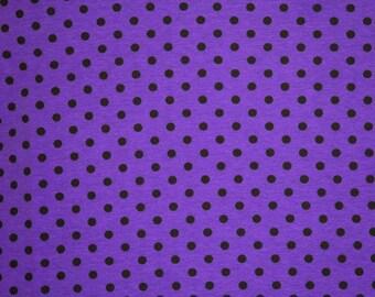 Purple black dots knit cotton lycra 1 yard made in USA