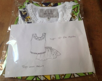 White  frill sleeveless summer top and African kente print infant Toddler outfit 18-24 months