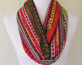 Colorful Tribal Print Infinity Scarf, Womens Accessories, Circle Scarf, Loop Scarf, Necklace Scarf, Scarves, Eclectasie