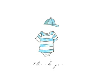 Thank you notes hand drawn handmade cards baby boy cards painted boy hat and little outfie cards inspirational encouragement notecards