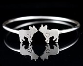 Sterling Silver Adjustable French Bulldog Cuff Bracelet