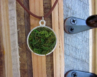 Real Spanish moss Pendant on cord - Medium round on brown cord - real plants,mossy,grass,plant, botany,forest,fairy,hippie,tree hugger Love