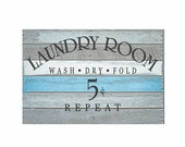 "Laundry Decal ""Laundry- Wash Dry Fold Repeat""  Vinyl Lettering Wall Decal Quote Sticker"